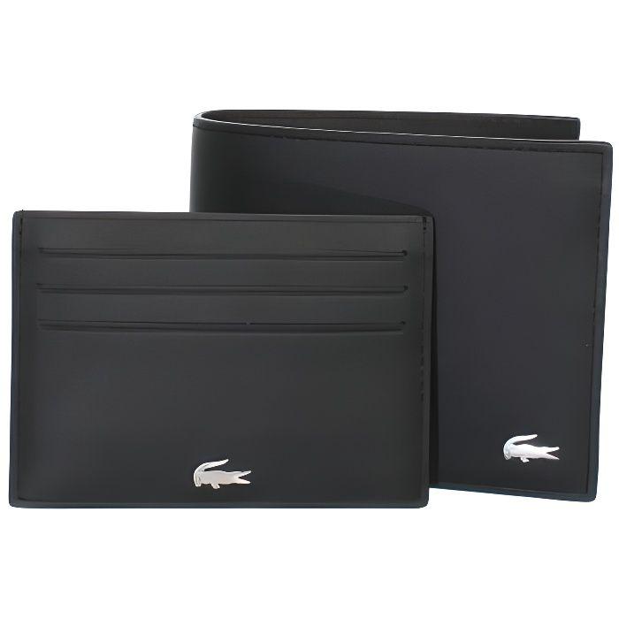 8e816682382 Coffret portefeuille Lacoste en cuir ref cem42766-000-noir Noir ...