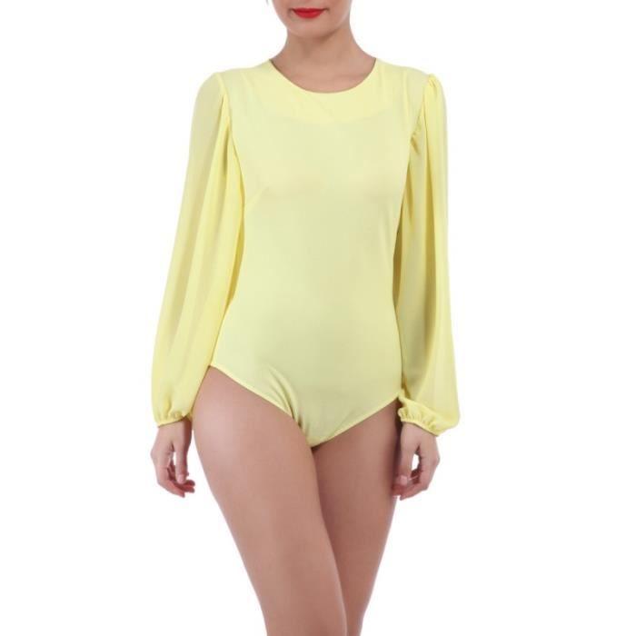 La Modeuse - Body femme en matière légère-TU-Jaune - Achat   Vente ... d41b2c05497