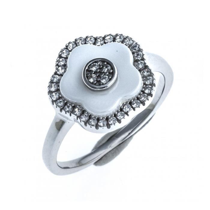 """Bague en céramique blanche - argent rhodié """"fleurs"""" - zircons - ep. 1,8 mm"""