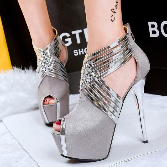 plate-forme talons sexy chaussures pour femmes talons peep toe pompes partie avec fermeture glissi re 7E3W3kLLq