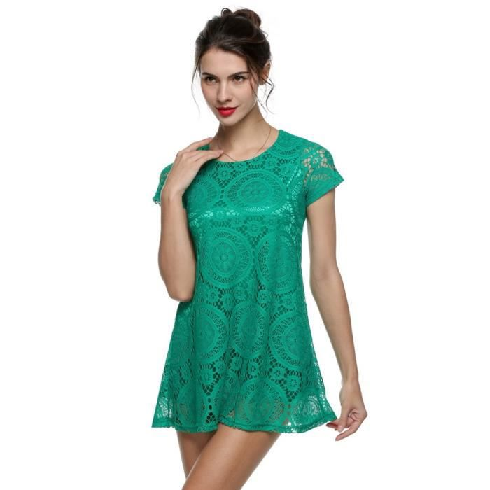 Robe femme Finejo creux-out dentelle manches courtes slim casual