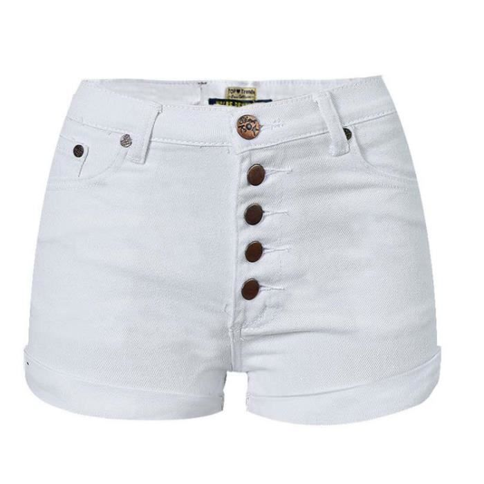 short femme en jean taille haute blanc lastique retrous simple flavor blanc blanc achat. Black Bedroom Furniture Sets. Home Design Ideas