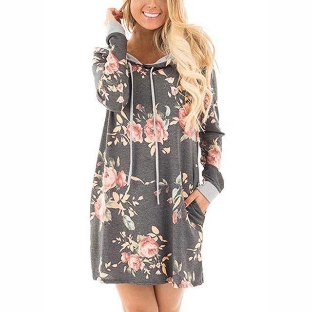 Robes à capuche femme 2017 Robe à manches longues à imprimé floral à style européen Design de poche Automne Hiver Femmes Vêtements
