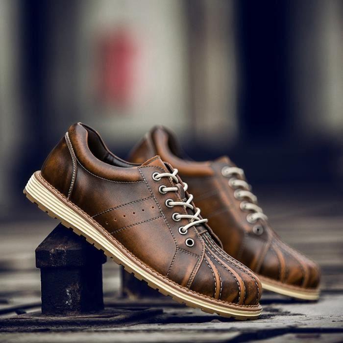 Hommes Chaussures de conduite en cuir respirant Casual Crocodile de la peau Mocassins avec Buckles (noir, brun)