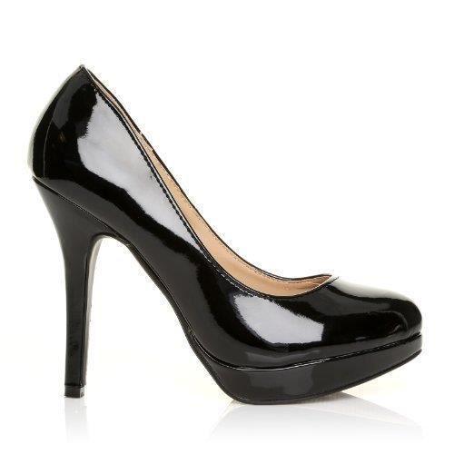 9dd2540d29ef5 Eve - Chaussures à Talons Hauts - Plateforme - Noir Vernis ZTVT9 ...
