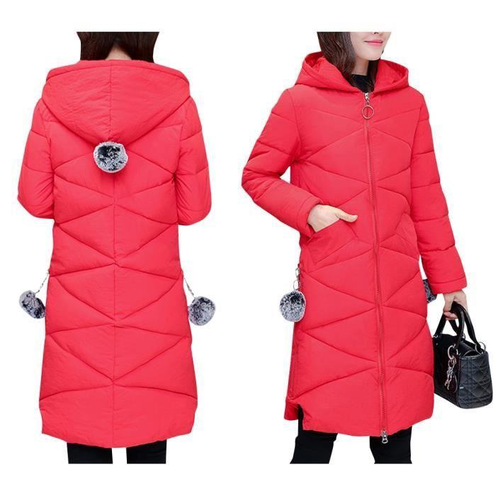 0c70e3d8d853 Rouge Élégant Doudoune Femme Longue à Capuche Couleur pure Manteau Automne  Hiver Fine et Légère en Coton Grande Taille S-2XL
