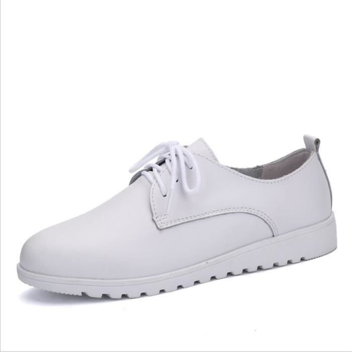 Chaussures Femmes Cuir Occasionnelles Comfortable Chaussure BBZH-XZ042Blanc38