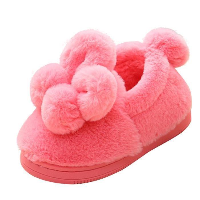 BOTTE Mignon Enfant En Bas Âge Bébé Filles En Peluche Doux Semelle Anti-dérapant Chaud Neige Chaussures De Neige@PastèqueHM