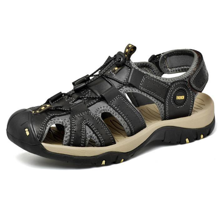 WoWa® Sandales Homme Bout Fermé de Plage Casual Sport Randonnée en Cuir de Vachette Respirant Durables Confortable Brune