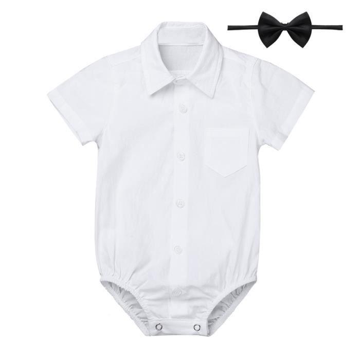 aaa9a95a464c8 Bébé Garçon Costume Cérémonie Tenue Baptême Ensemble Vêtement Eté Chemise  Manche Courte 3-24 Mois Blanc
