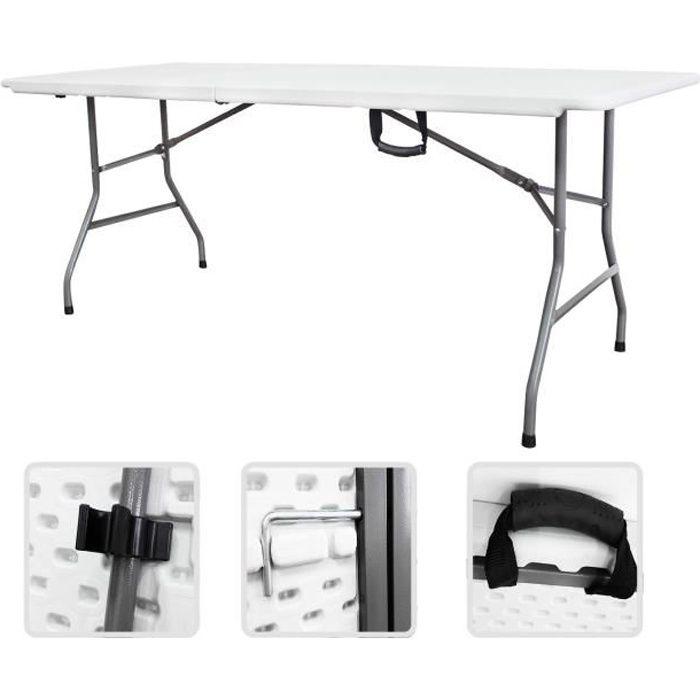 Table Pliante Transportable, Table en Plastique Robuste, 183 x 76 cm ...