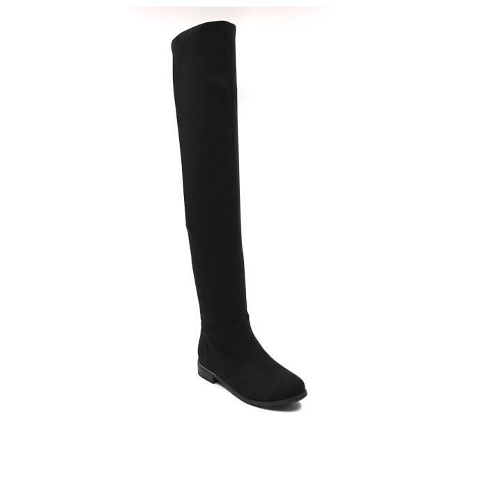 CHIC NANA . Chaussure femme cuissarde plate en effet daim, dotée d'un bout rond en couleur Noir 39