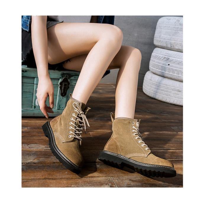 Bottines Lacets Femme Boots Chaussure Pour L'automne Hiver Style Simple