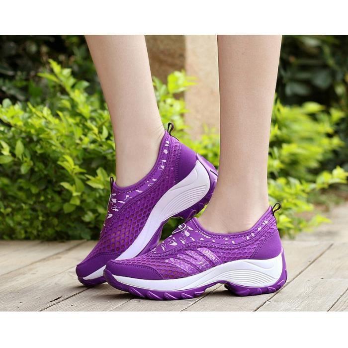 2017 Mode féminine Chaussures de course Chaussures de sport respirant Plate-forme extérieure de marche Casual Sneakers Secouer