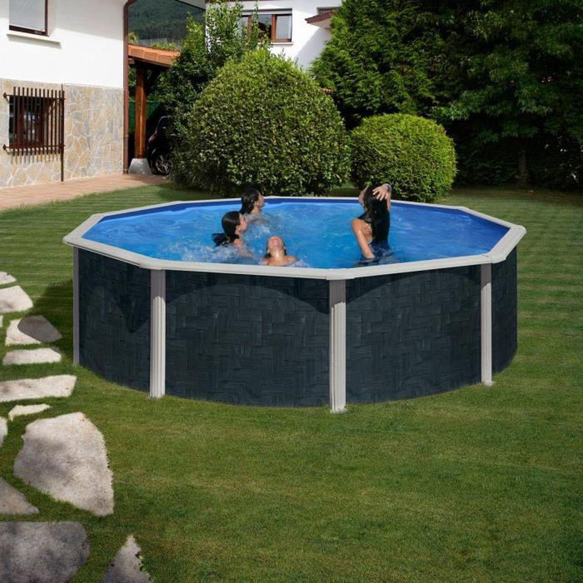 piscine piscine hors sol acier aspect bois rattan 460 x 12 - Piscine Hors Sol Metal Aspect Bois
