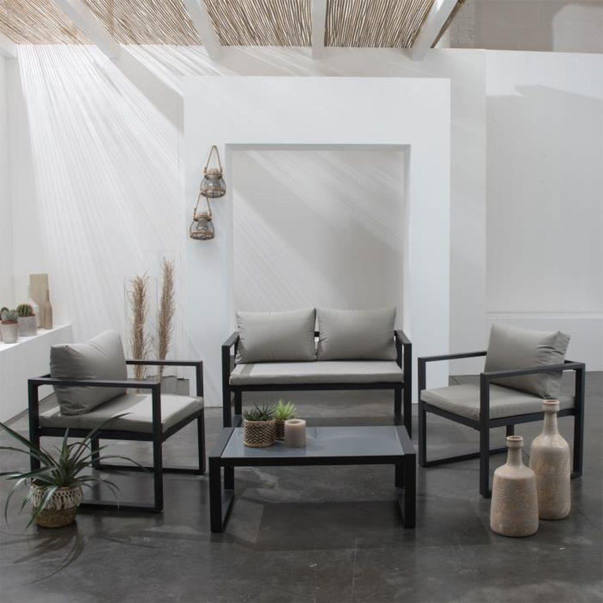 Salon de jardin IBIZA en tissu gris 4 places - aluminum anthracite