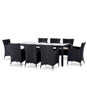 SALON DE JARDIN Table Et Chaise En Rsine Tress 8 Places Noir