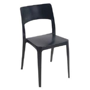 FAUTEUIL JARDIN  Lot 30 chaises de jardin empilables noires en poly