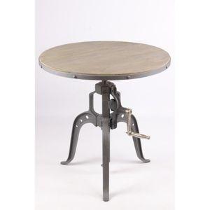 TABLE D'APPOINT Guéridon réglable en hauteur au style industriel