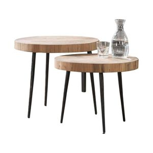 TABLE BASSE Ensemble de 2 tables basses rondes rustique avec p