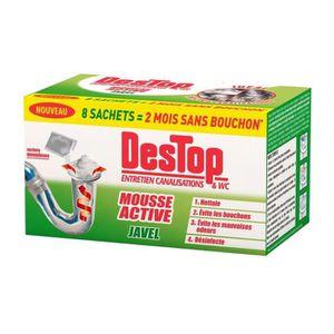 NETTOYAGE SALLE DE BAIN DESTOP Mousse active javel - 8 Sachets