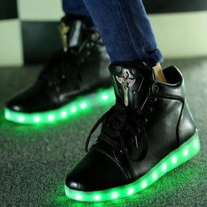 Chaussure PU sneaker montante LED lumineuse pour femme homme adulte printemp hiver avec 7 couleurs b9Pj6t