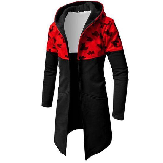 Longues Hommes Top À Camouflage Zipper Chemisier Automne De Manches Hiver Casual Veste Manteau rouge qaYd8gw