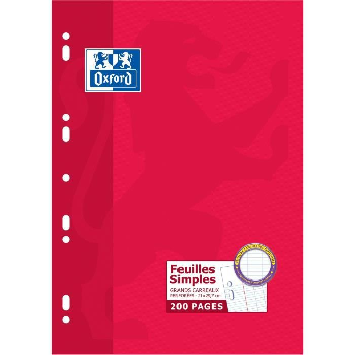OXFORD Feuille Mobile Perforée 200 pages