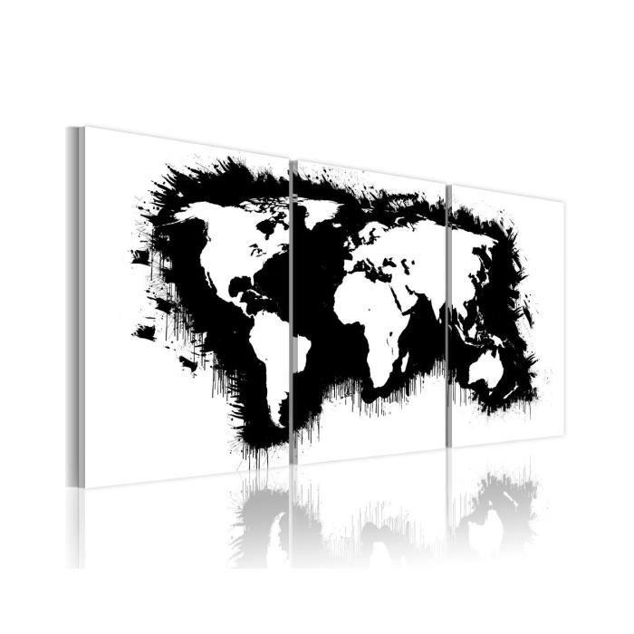 tableau carte du monde noir et blanc achat vente pas cher. Black Bedroom Furniture Sets. Home Design Ideas