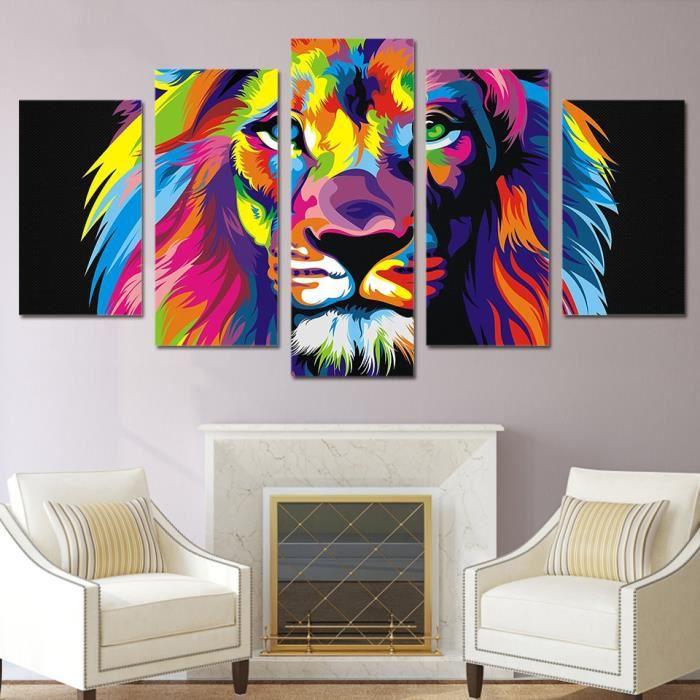 5 panneaux imprimés peinture en toile colorée animaux Lion photos ...