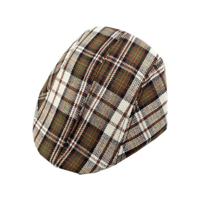 Enfant Garçon Fille Chapeau Carreau Béret Casquette Classique Chapeau de Base-ball  Bonnet d350978aaa5
