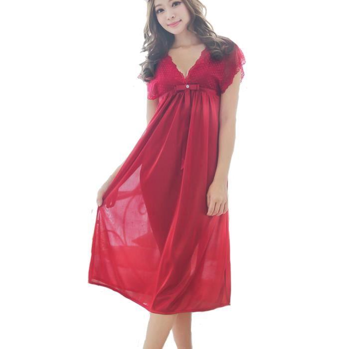 meilleures baskets 71962 42434 Femme Nuisette Dentelle Robe de Nuit Pyjama Robe de Chambre V-Col  Déshabillés Lingerie Chemise de Nuit Rouge