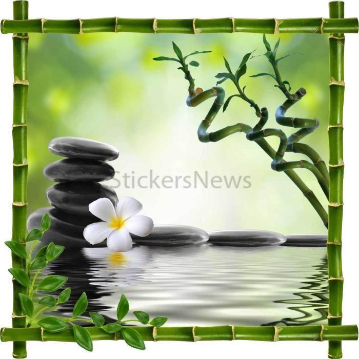 Sticker autocollant cadre bambou fleur et galets zen dimensions achat vente stickers bambou - Image zen a imprimer ...