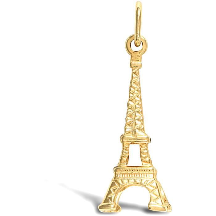 Jewelco Londres 9K solide jaune eiffel or charme pendentif tour