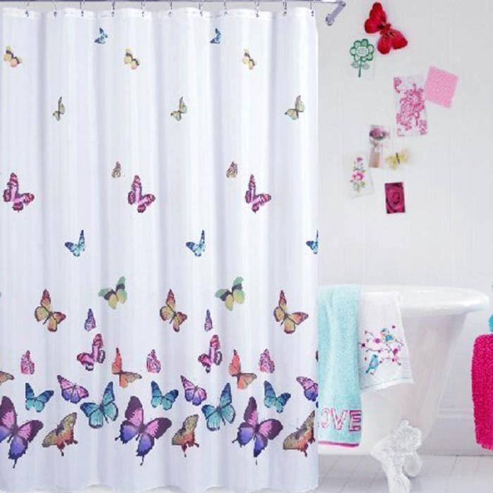 motif papillon tissu rideau de douche salle de bain tanche 70 70 pouces achat vente. Black Bedroom Furniture Sets. Home Design Ideas