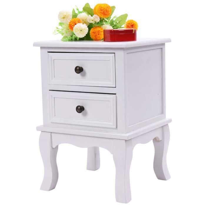 Table de chevet commode meuble chambre à coucher 2 tiroirs table de ...