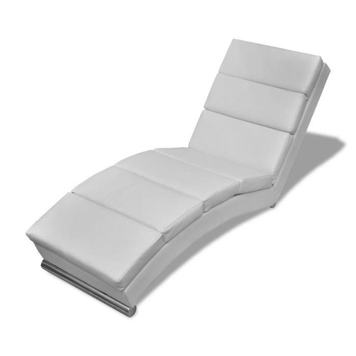 Chaise Longue Blanche Design Ergonomique Et Elegant Cadre En Bois