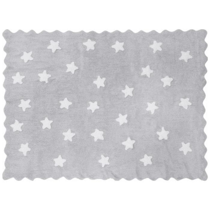 Lilipouce Tapis enfant coton gris étoiles Eden blanches 120x160 cm