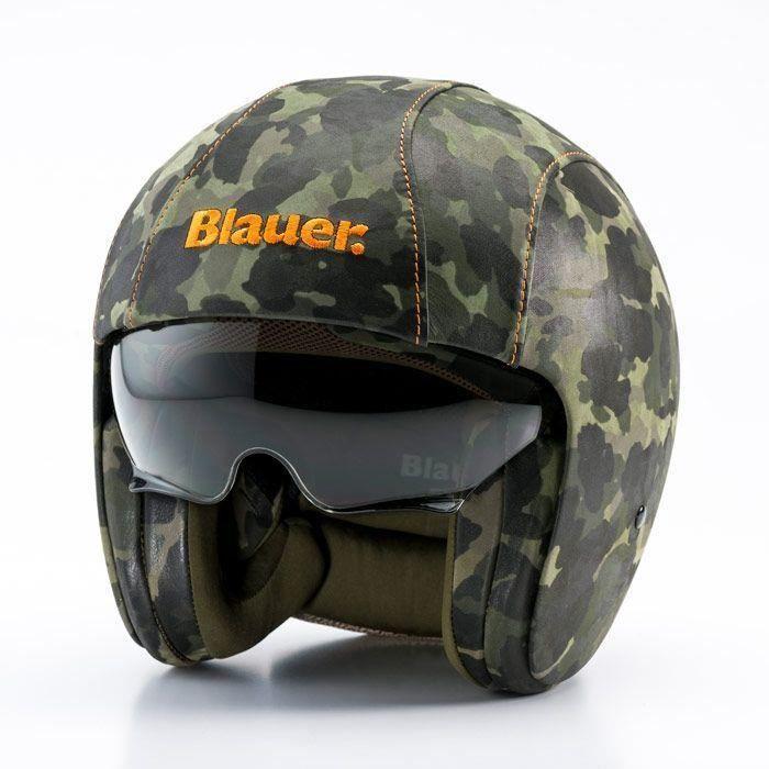 casque jet blauer pilot cuir army vert achat vente casque moto scooter casque jet blauer. Black Bedroom Furniture Sets. Home Design Ideas