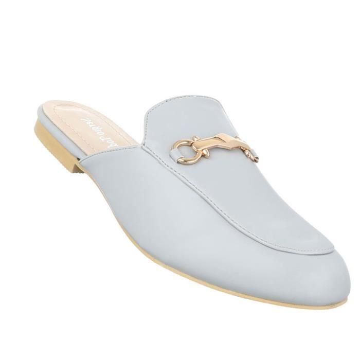 Femme sandales chaussures chaussures de plage chaussures d'été Pantoletten Slipper gris clair 41