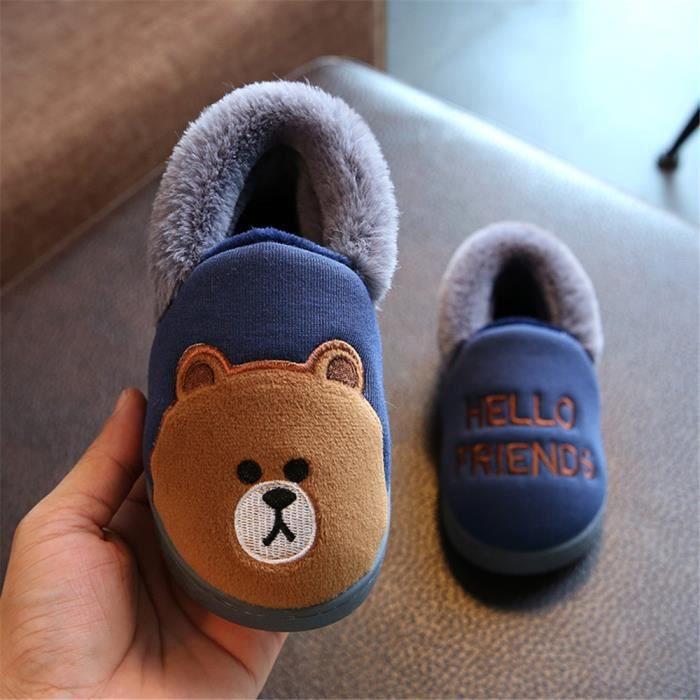 Ours Chausson Garde Au Chaud Coton Chaussure Confortable Enfant Hiver Chaussons Plus De Cachemire Mignon Doux meilleur Bleu 19