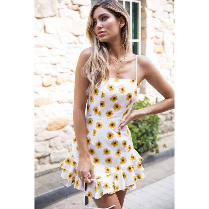 c3085944fe6 Robe Femme Fleur D été Imprimé Rayé Sans Manches Mini Boho Plage Dos ...