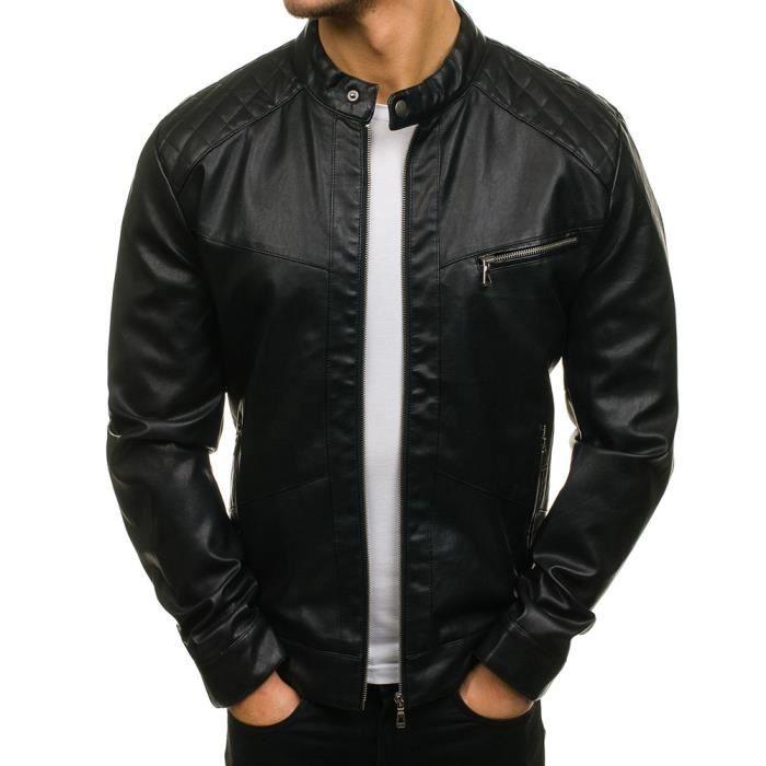 Veste cuir fashion homme Veste M437 noir Noir Noir - Achat   Vente ... 97f2706543d