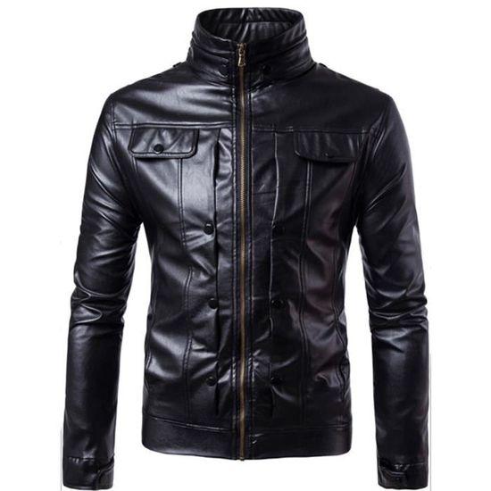 ... Noir Hommes Manteau Chaud Motard Hiver Automne Cuir Outwear Libaib  Zipper 51Eqw ... 0ff184851a0