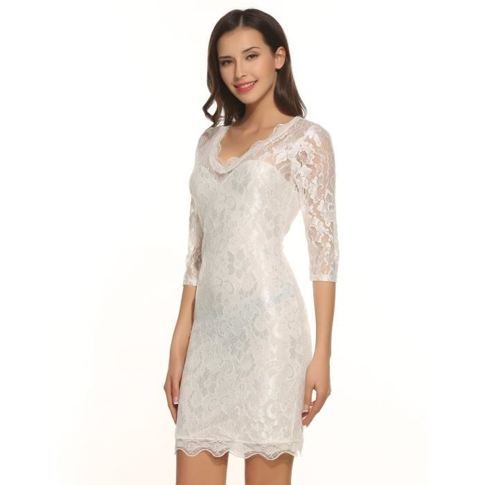 Meaneor Womens Casual V-neck 3-4 Sleeve Floral Slim Lace Zipper Pencil Dress 2WS3HJ Taille-36