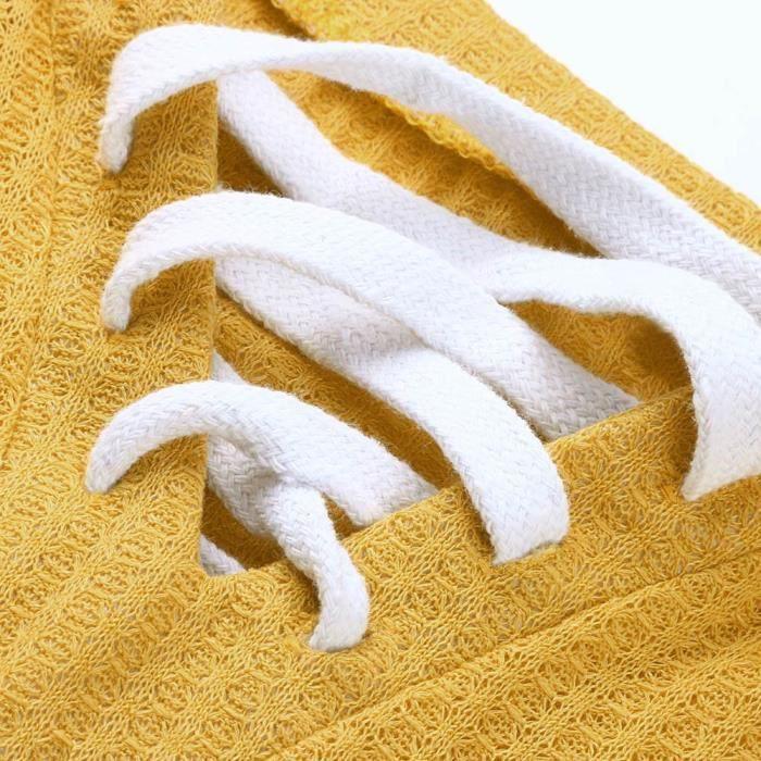 Manches T Les Jaune Tie Femmes cou Tops Knit Loose Chemisier shirt Casual Longues V c3TlF1JK