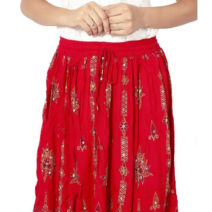17 m Cotton Size Free Red Taille srs Rayon Ur9mc Long Maxi Sequin Skirt Women's Oxq0vdwO