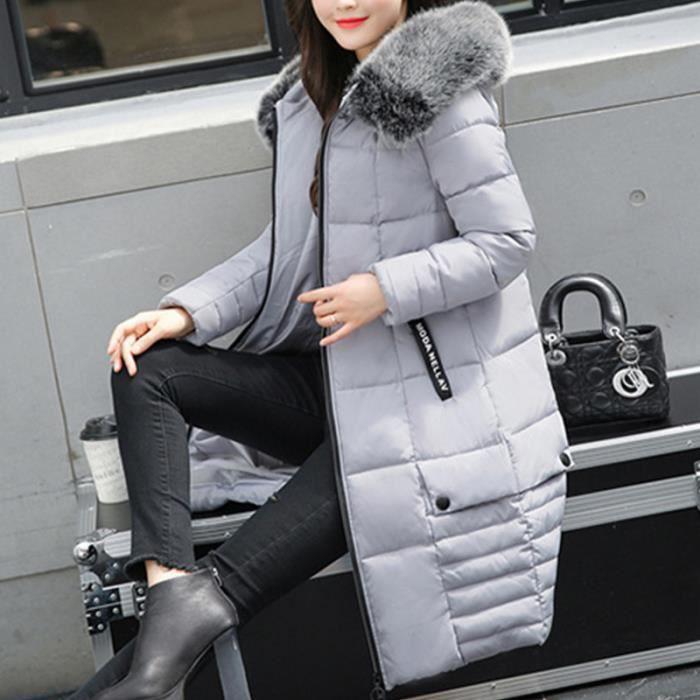 Doudoune noir Vert Slim Capuche Chaud En Mi Avec gris longue Fourrure rose Épaisse Flavor Simple Femme Coton RrwTBqx4aR