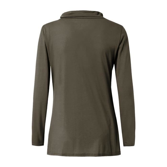 Manches À T Bénitier Allaitement Café Tops Ouvert Nursing Et Femme Longues Col shirts Côté Tga54qH