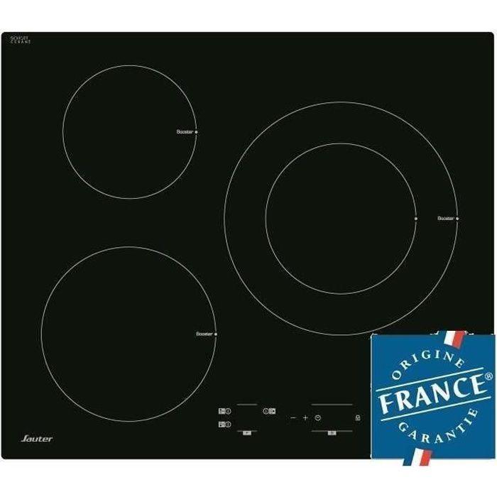 SAUTER SPI4300B Table de cuisson Induction - 3 zones - 7200W - L60 x P52cm - Revêtement verre - Noir